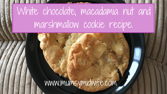 Cookie recipe – white chocolate, macadamia nut and marshmallow cookies.