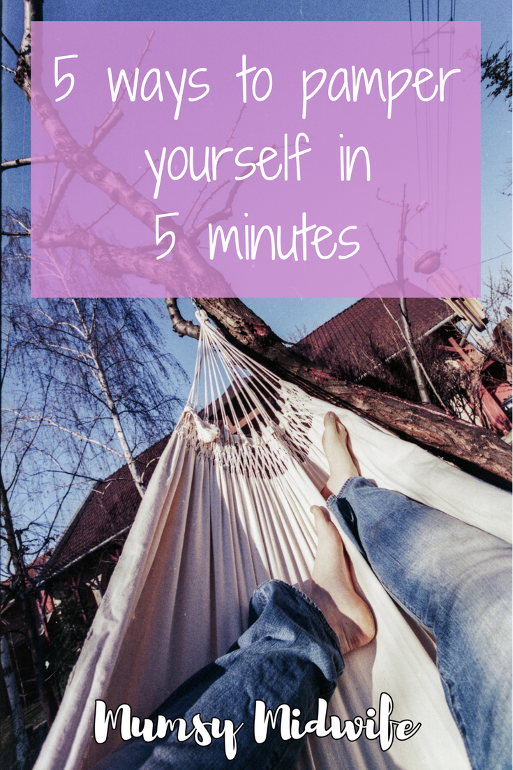 how to pamper yourself in 5 minutes woman relaxing in hammock www.mumsymidwife.com
