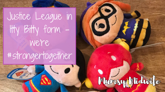 Justice League in Itty Bitty form – we're #strongertogether